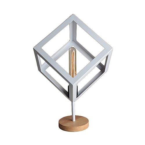 Lampe de table en métal effet carré/diamant de style rétro et lampe de table en bois / E27 (Couleur : Blanc)
