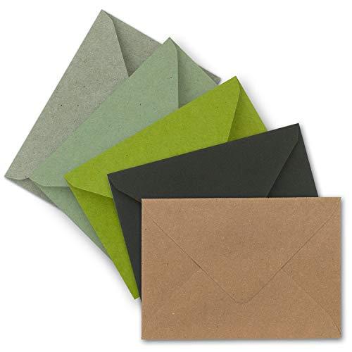 50x Brief-Umschläge Farbenmix-Paket DIN C6-114 x 162 mm (11,4 x 16,2 cm) - Nassklebung - Vintage Kraftpapier Natur-Papier Kuverts - Ideal für Einladungs-Karten
