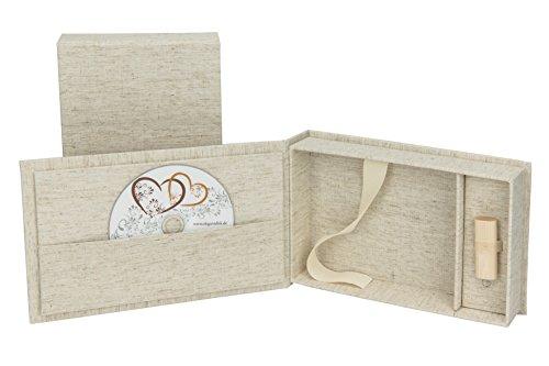 Elegantdisk Hochzeit USB/DVD-Aufbewahrungsbox mit Foto-Box 13x18 cm. Leinenstoff Farbe Natur