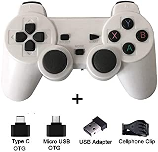 DUOER home Gamepads Controllers Wireless Gamepad for Android Phone/PC/PS3/TV Box Joystick 2.4G Joypad Game Controller for Smart Phone Game Accessories Controller Gamepads (Color : White)