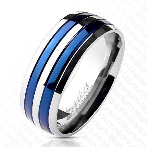 Bungsa® 67 (21.3) Blauer Labyrinth Ring Edelstahl Frauen & Männer 49-70