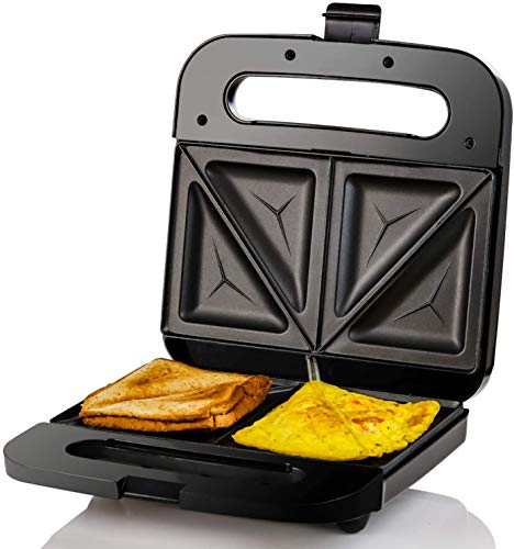 Ovente Electric Indoor Sandwich Grill Maker with Non-Stick Cast Iron Grilling Plates, 750W Countertop Bread Toaster Easy Storage & Clean Perfect for Breakfast Grilled Cheese Egg & Steak, Black GPS401B