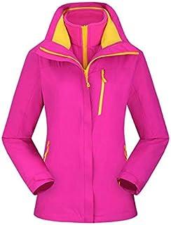 BEESCLOVER Brand New Outdoor Warm Winter Jacket Waterproof Breathable Hiking Windbreaker Skiing Fishing Men Jacket 3 in 1 Fleece Coat Rose red XXL