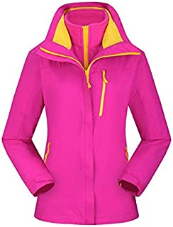 BEESCLOVER Brand New Outdoor Warm Winter Jacket Waterproof Breathable Hiking Windbreaker Skiing Fishing Men Jacket 3 in 1 Fleece Coat Rose red XL