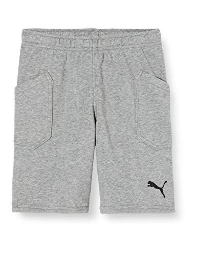 PUMA Kinder Liga Casuals Shorts Jr Hose, Medium Gray Heather-Puma Black, 164