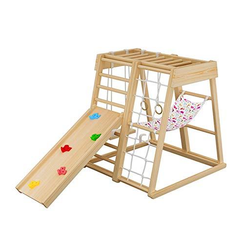 LHAHGLY Inicio Kindergarten Pequeño Castillo Naughty Playground, Diapositiva para niños, Marco de Montaje de Escalada de Madera Maciza para niños toboganes Infantiles
