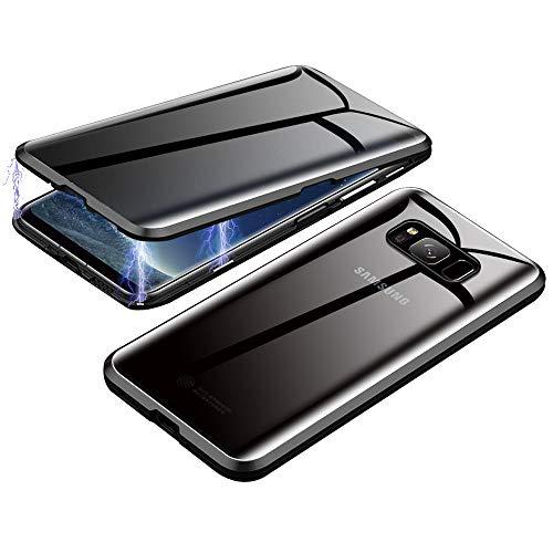 Jonwelsy Anti-Spy Funda para Samsung Galaxy S8, 360 Grados Proteccion Case, Privacidad Vidrio Templado Anti espía Cover, Adsorción Magnética Metal Bumper Cubierta para Galaxy S8 (Negro)