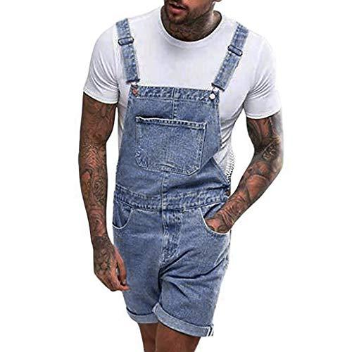 Herren Latzhose Jeans Hosen Shorts Lose Denim Pants Stonewash Jumpsuit Overall Mode Einfarbig Kurze Hosen Jeanshose FüR MäNner Kurze Jogger Jeans Streetwear