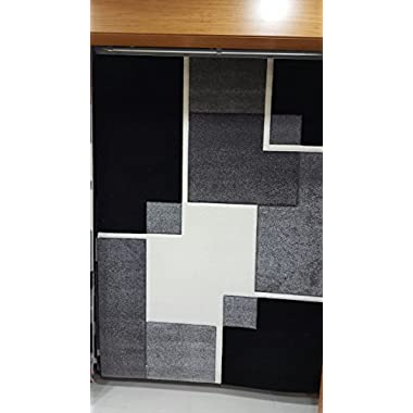 Renzo Collection Easy Clean Stain and Fade Resistant Luxury Black Area Rug for Bedroom Kitchen Dining Living Room, Modern Geometric Space Design with Jute Backing (Size 5' x 7' Feet)