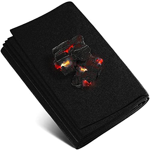 Feuerfeste Unterlage 2x2 m. hitzebeständig bis zu 982 °C schwarz, Feuerfester Stoff ideal als Feuerschutzmatte oder als Grillunterlage, Hitzeschutzmatte nicht brennbar, feuerfeste Platte, Brandschutz