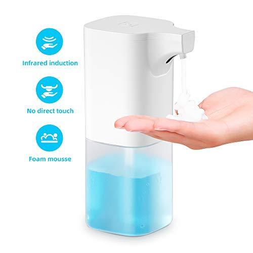 Smyidel Automatischer berührungsloser Seifenspender mit Infrarot-Bewegungssensor, wasserdichter IPX3-Flüssigseifenspender für Badezimmer, Kithcen und Hotel, Weiß 350 ml (B)