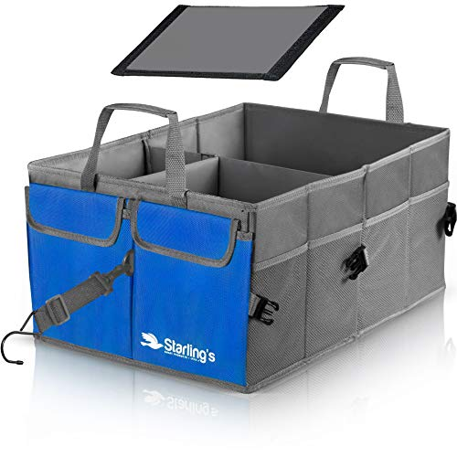 Starling's Car Trunk Organizer - Super Strong, Foldable Storage Cargo Box for SUV, Auto, Truck - Nonslip Waterproof Bottom, Fits any Vehicle, Come w/Adjustable Tie-Down Straps (Black, 2 Compartments)