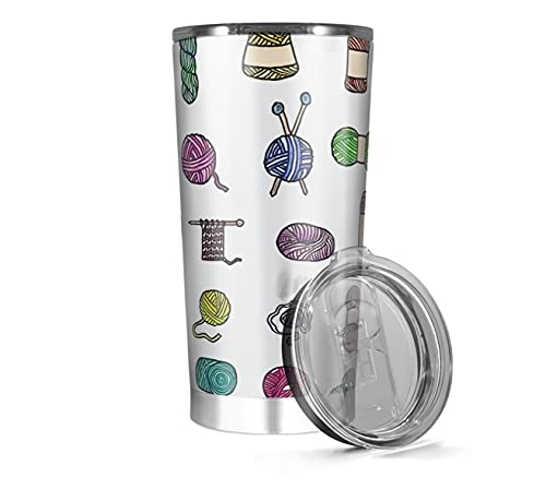 Stainless Steel Insulated Tumbler 20oz 30oz Balls Coffee Of Iced Yarn Tea - Cold Knitting Wine Watercolor Hot Water Botter Gifts For Family And Friends