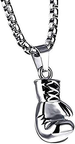 Aluyouqi Co.,ltd Collar de Acero Inoxidable para Hombre Collar con Colgante Mini Guante de Boxeo Encanto Gimnasio Collar Vintage joyería de Hip Hop para Hombre Regalos para Novio