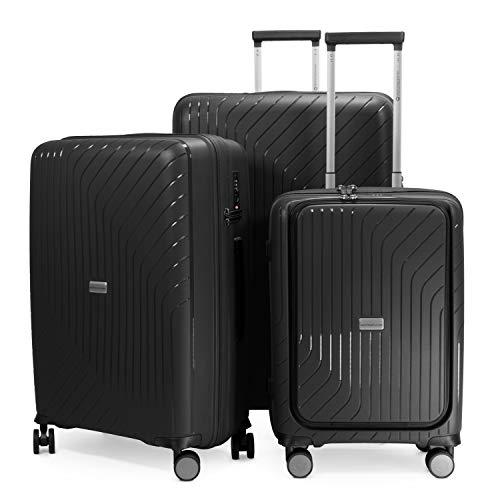 HAUPTSTADTKOFFER - TXL - Set di 3 Trolley Valigie rigidi - bagaglio a mano con compartimento per laptop + trolley medio + valigia grande, TSA, Nero