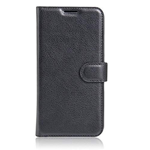 Sangrl Leder Lederhülle Schutzhülle Für LG K5, Wallet Tasche Für LG K5, mit Halterungsfunktion Kartenfächer Flip Hülle Schwarz