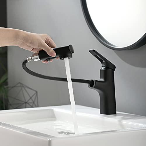Lonheo Wasserhahn Bad Armatur mit Herausziehbarer Brause, Mischbatterie Waschbecken Schwarz, Waschtischbatterie Einhandmischer Ausziehbar fürs Badezimmer