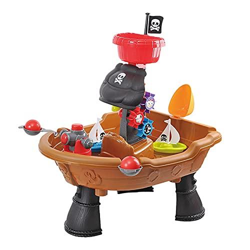 Mesa De Agua Y Arena,Mesita Infantil para Juegos Conjunto De Barco Pirata Multifuncional,Mesa para Agua Y Arena Agua Reciclada Material Seguro