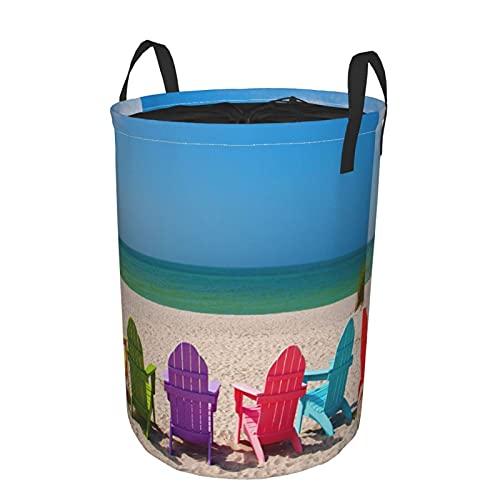 Cesto de lavandería redondo,silla de color Landscape Sky Beach,cesto de lavandería plegable impermeable con cordón,19'X14'