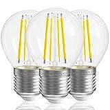 QNINE Bombillas LED E27 Luz Calida, 4W Equivalente a 40W, 400lm, Globo Bombillas Vintage Edison de Cristal, No Regulable, 3 Unidades