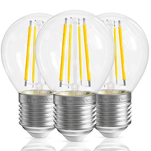 QNINE Leuchtmittel E27, ersetzt Glühbirne 30-40 Watt, Warmweiß(2700K), 4W Filament Birnen, 3 Stück Lampen, 400LM, Vintage Klarglas, nicht Dimmbar, 45mm, 220-240V AC[Energieklasse A+]