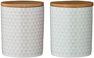 Olivia Ceramic Jar w Wood Lid (Grey)
