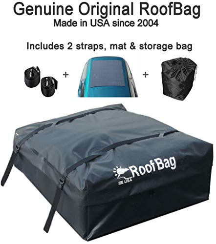 RoofBag Rooftop Cargo Carrier Bundle | Made in USA | 15 cu ft | Includes: Protective Mat + Storage Bag | Premium-Waterproof Luggage Car Top Bag | Fits ALL Cars: Side Rails, Cross Bars or No Rack