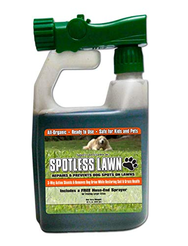 Nature's Lawn - Spotless Lawn Dog Spot Aid - Revive & Protect Your Lawn from Dog Urine Burn - Remediate Spills - Recover from Road Salt Damage - 1 Qt with Hose end Sprayer