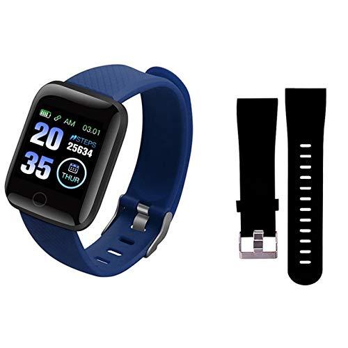 OYPY D13 Smart-Uhren 116 und Smart-Armband-Armband-Uhr-Mann-Frauen-Sport-Uhren Smart-Sport 116plus Smartwatch (Farbe : Blue N Black Strap)