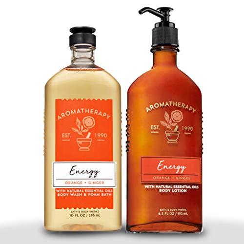 Bath & Body Works Aromatherapy Energy - Orange + Ginger Body Lotion, 6.5 Fl Oz + Body Wash & Foam Bath, 10 Fl Oz