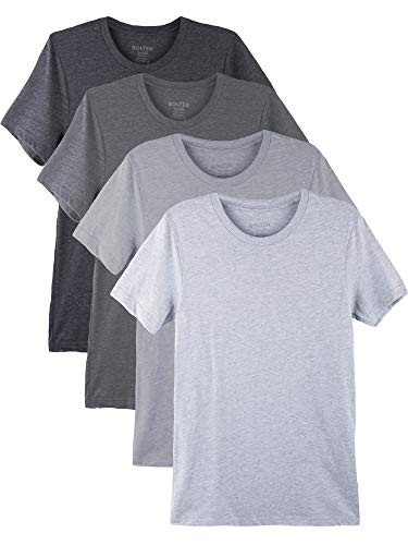 Bolter 4 Pack Men's Everyday Cotton Blend Short Sleeve T-Shirt (Medium, Blk/H.Greys)