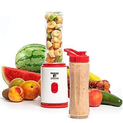 Moss & Stone Personal Blender Single Serve Shake & Smoothies Maker with Portable Travel Sport Bottle - Mini Juicer - Blender Bottle 20 oz (Red) from Moss & Stone