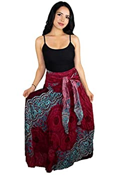 Happy Trunks Womens Boho Long Maxi Skirts - Loose Gypsy Wrap Skirt - Bohemian Hippie Style High Waisted Skirt  Plus Red Honeycomb