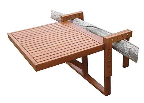 Spetebo Eukalyptus Balkontisch - 60x45 cm - Holz Klapptisch Balkon Hängetisch klappbar