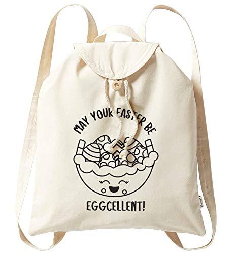 Flox - Zaino creativo in cotone biologico, motivo: May Your Easter be Egg', Naturale (Beige) -...
