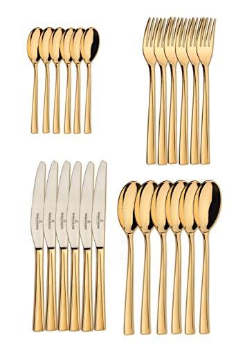 Besteck Garnitur - Tafelservice - Monterey real gold - 24 teilig - echt vergoldet - von Picard & Wielpütz