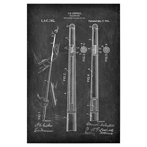 artboxONE Poster 30x20 cm Schwarzweiß Billard Queue Patent (Tafel) - Bild poolbillard billardspiel Blaupause