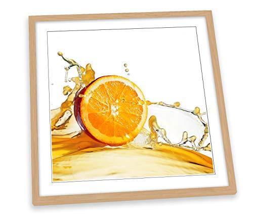 Canvas Geeks Orange Juice Slice Fruit Kitchen - Póster cuadrado (25 cm x 25 cm), diseño de frutas