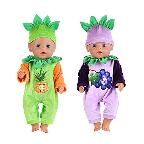 WENTS Ropa de Muñeca 2 Pcs Ropa de Moda Peleles Accesorios para Muñecas de 18 Pulgadas Baby Born, Muñecas Recién Nacidas, Muñecas American Girl y Otras Muñecas de 18 Pulgadas