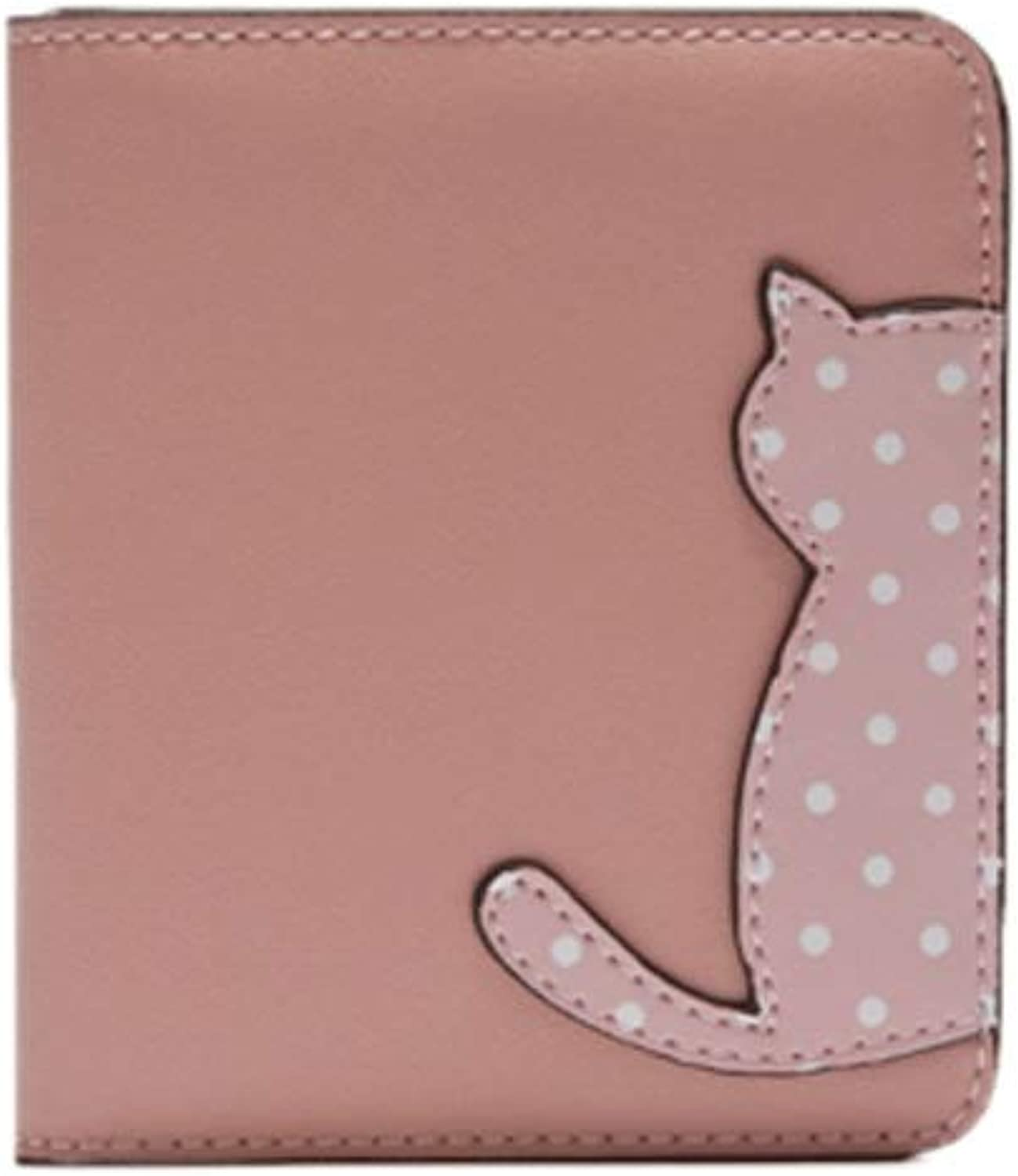 5GHjkj Small Fresh Style Ladies Wallet Cute Cat Short Paragraph Clutch Bag MultiCard Large Capacity Coin Purse (color   Pink)
