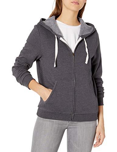 Hurley Women's Perfect Solid Zip Fleece Hoodie, Oil Grey HTHR, L