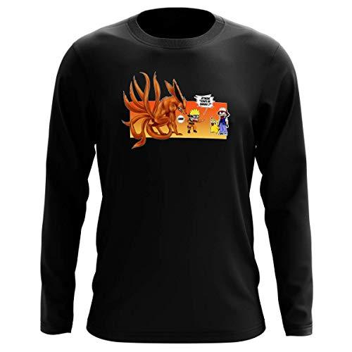 T-Shirt Manches Longues Noir Parodie Naruto - Pokémon - Naruto, Kyubi X Sasha et Pikachu - Un Nouveau dresseur. (T-Shirt de qualité Premium de Taille L - imprimé en France)