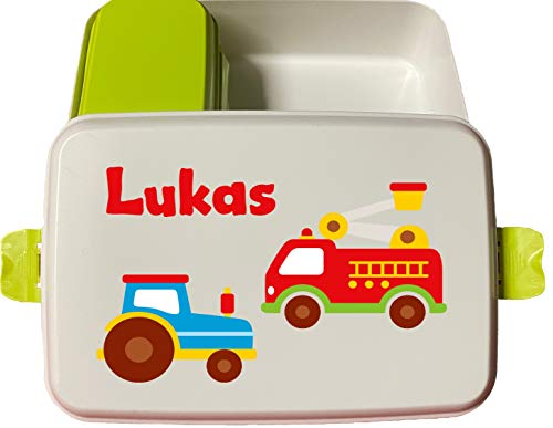 wolga-kreativ Brotdose Bio Traktor Feuerwehr mit Obsteinsatz für Jungen Lunchbox Bento Box personalisiert Brotbüchse Brotdosen Kindergarten Schule mit Namen Bedruckt