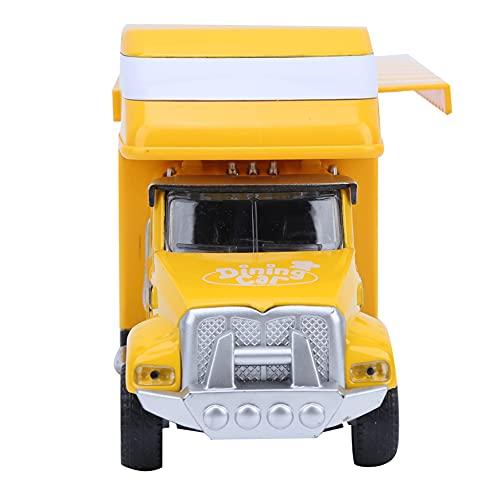 LFLF (Amarillo Comida Camión Paquete Pull Back Coche Multifuncional Aleación Niños Niños Modelo Modelo Modelo De Camión De Comida