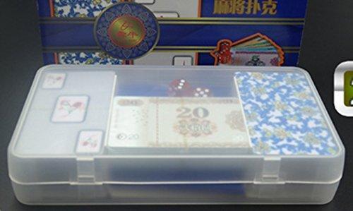 ルルハウス かっこいい 高級感のある 透明 麻雀 牌 カード 静かに どこでもできる ポータブル おしゃれ で 本場 なトランプ サイズ 麻雀 牌  サイコロ チップ 付き (透明タイプ)