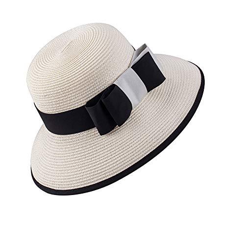 Acdyion Damen Faltbarer Sonnenhut Strohhut Elegant Sonnenschutz Hut Schlaff Sommerhut Strandhut für Urlaub Krempe UV Schutz UPF 50 Breite Krempe Aufrollbar (Weiß)