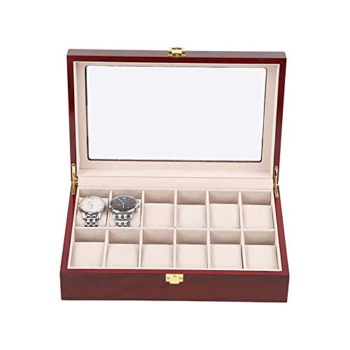 Wooden Watch Box, Vintage Watch Case with Glass Top Solid Wood Watch Case Display Box, Birthday, Valentine's Day, Christmas 12 Slots 10x8x3 inch