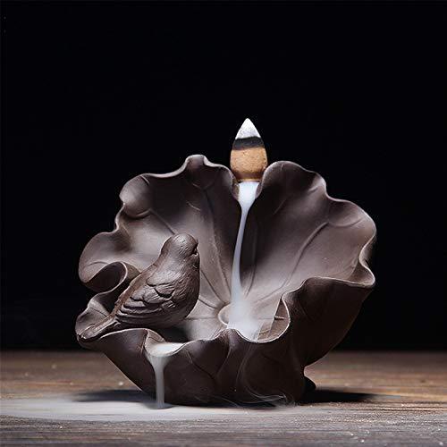 CCDZ Diseño único Retroceso Incienso Incienso Cascada Aves Estatua Handicraft Infierro Titulares Aromaterapia Censora Zen Decoración del hogar 1.31