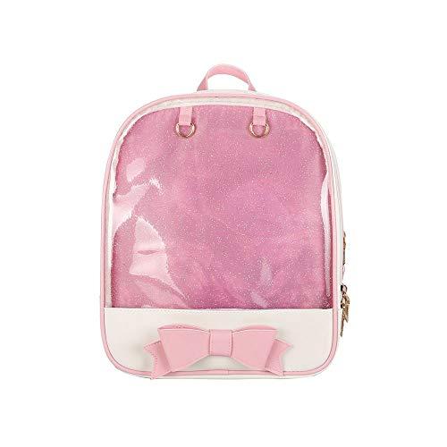 KEEPOP Ita Bag Rucksack Mädchen Süß Candy Leder Tasche Geldbörse Schultasche Sommer Strandtasche Geldbörse mit Bowknot Transparente Fenster für DIY Dekore Rosa