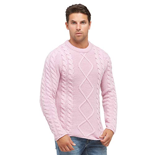 Pullovers heren trui met ronde hals in 100% wol kleur Roze